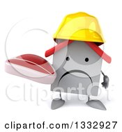 Clipart Of A 3d Unhappy White House Contractor Character Holding A Beef Steak Royalty Free Illustration