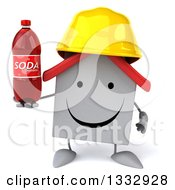 Clipart Of A 3d Happy White House Contractor Character Holding A Soda Bottle Royalty Free Illustration