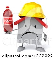 Clipart Of A 3d Unhappy White House Contractor Character Holding A Soda Bottle Royalty Free Illustration
