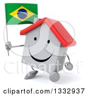 Clipart Of A 3d Happy White House Character Walking Slightly To The Left And Holding A Brazilian Flag Royalty Free Illustration