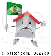 Clipart Of A 3d Unhappy White House Character Jumping And Holding A Brazilian Flag Royalty Free Illustration