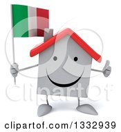 Clipart Of A 3d Happy White House Character Giving A Thumb Up And Holding An Italian Flag Royalty Free Illustration