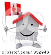 Clipart Of A 3d Happy White House Character Giving A Thumb Up And Holding A Canadian Flag Royalty Free Illustration