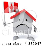 Clipart Of A 3d Unhappy White House Character Holding A Canadian Flag Royalty Free Illustration