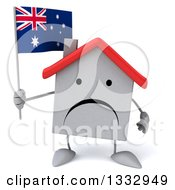 Clipart Of A 3d Unhappy White House Character Holding An Australian Flag Royalty Free Illustration