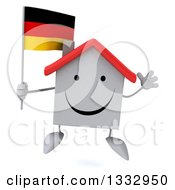 Clipart Of A 3d Happy White House Character Jumping And Holding A German Flag Royalty Free Illustration