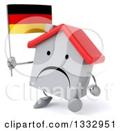 Clipart Of A 3d Unhappy White House Character Facing Slightly Left Walking And Holding A German Flag Royalty Free Illustration