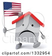 Clipart Of A 3d Unhappy White House Character Walking And Holding An American Flag Royalty Free Illustration