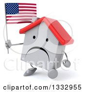 Clipart Of A 3d Unhappy White House Character Walking Slightly Left And Holding An American Flag Royalty Free Illustration