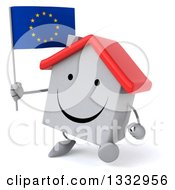 Clipart Of A 3d Happy White House Character Walking Slightly Left And Holding A European Flag Royalty Free Illustration