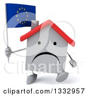 Clipart Of A 3d Unhappy White House Character Walking And Holding A European Flag Royalty Free Illustration