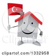 Clipart Of A 3d Happy White House Character Holding A Turkish Flag Royalty Free Illustration