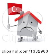 Clipart Of A 3d Unhappy White House Character Walking And Holding A Turkish Flag Royalty Free Illustration