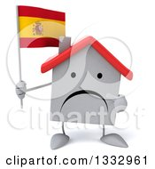 Clipart Of A 3d Unhappy White House Character Holding And Pointing To A Spanish Flag Royalty Free Illustration