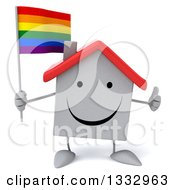 Clipart Of A 3d Happy White House Character Giving A Thumb Up And Holding A Rainbow Flag Royalty Free Illustration