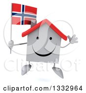 Clipart Of A 3d Happy White House Character Jumping And Holding A Norwegian Flag Royalty Free Illustration