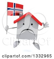 Clipart Of A 3d Unhappy White House Character Jumping And Holding A Norwegian Flag Royalty Free Illustration