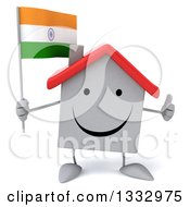 Clipart Of A 3d Happy White House Character Giving A Thumb Up And Holding An Indian Flag Royalty Free Illustration