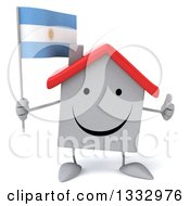 Clipart Of A 3d Happy White House Character Giving A Thumb Up And Holding An Argentine Flag Royalty Free Illustration