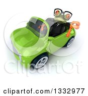 Clipart Of A 3d Bespectacled Green Business Springer Frog Holding Up A Thumb Down And Driving A Green Convertible Car Royalty Free Illustration