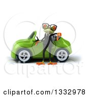 Clipart Of A 3d Bespectacled Green Business Springer Frog Giving A Thumb Down By A Green Convertible Car Royalty Free Illustration