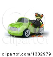 Clipart Of A 3d Bespectacled Green Business Springer Frog Presenting A Green Convertible Car Royalty Free Illustration