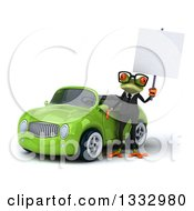 Clipart Of A 3d Bespectacled Green Business Springer Frog Holding A Blank Sign By A Green Convertible Car Royalty Free Illustration