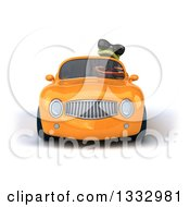 Clipart Of A 3d Green Business Springer Frog Wearing Sunglasses And Driving An Orange Convertible Car Royalty Free Illustration