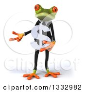 Clipart Of A 3d Green Business Frog Presenting And Holding A Dollar Currency Symbol Royalty Free Illustration