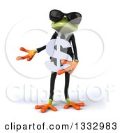 Clipart Of A 3d Green Business Frog Wearing Sunglasses Presenting And Holding A Dollar Currency Symbol Royalty Free Illustration