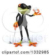 Clipart Of A 3d Green Business Frog Wearing Sunglasses And Looking At A Golf Ball Royalty Free Illustration