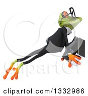 Clipart Of A 3d Bespectacled Green Business Frog Leaping To The Right And Holding A House Royalty Free Illustration