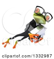 Clipart Of A 3d Bespectacled Green Business Frog Leaping To The Right And Holding A House 2 Royalty Free Illustration