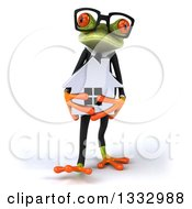 Clipart Of A 3d Bespectacled Green Business Frog Walking And Holding A House Royalty Free Illustration