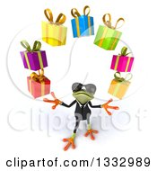 Clipart Of A 3d Green Business Frog Wearing Sunglasses Looking Up And Juggling Gifts Royalty Free Illustration