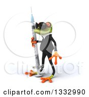 Clipart Of A 3d Green Business Frog Wearing Sunglasses Facing Left And Holding A Vaccine Syringe Royalty Free Illustration