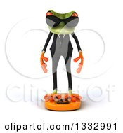 Clipart Of A 3d Green Business Frog Wearing Sunglasses And Standing On A Scale Royalty Free Illustration