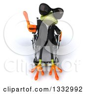 Clipart Of A 3d Green Business Frog Wearing Sunglasses Sitting In A Wheelchair And Holding Up A Thumb Royalty Free Illustration