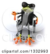 Clipart Of A 3d Green Business Frog Wearing Sunglasses Sitting In A Wheelchair And Giving A Thumb Down Royalty Free Illustration