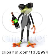Clipart Of A 3d Green Business Frog Wearing Sunglasses And Holding A Bottle Of Red Wine Royalty Free Illustration