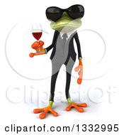 Clipart Of A 3d Green Business Frog Wearing Sunglasses And Holding A Glass Of Red Wine Royalty Free Illustration