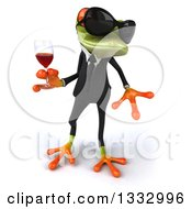 Clipart Of A 3d Green Business Frog Wearing Sunglasses Walking And Holding A Glass Of Red Wine Royalty Free Illustration