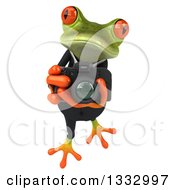 Clipart Of A 3d Green Business Frog Leaping And Taking Pictures With A Camera Royalty Free Illustration