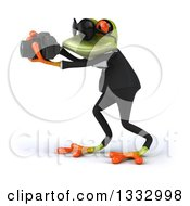 Clipart Of A 3d Green Business Frog Wearing Sunglasses Facing Left And Taking Pictures With A Camera Royalty Free Illustration