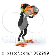 Clipart Of A 3d Green Business Frog Wearing Sunglasses Facing Slightly Right And Taking Pictures With A Camera Royalty Free Illustration