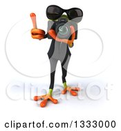 Clipart Of A 3d Green Business Frog Wearing Sunglasses Holding Up A Finger And Taking Pictures With A Camera Royalty Free Illustration