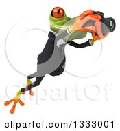 Clipart Of A 3d Green Business Frog Leaping To The Right And Taking Pictures With A Camera Royalty Free Illustration