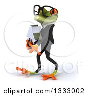 Clipart Of A 3d Bespectacled Green Business Frog Walking To The Left And Holding A House Royalty Free Illustration