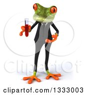 Clipart Of A 3d Green Business Frog Holding And Presenting A Test Tube Royalty Free Illustration