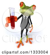 Clipart Of A 3d Green Business Frog Holding Up A Test Tube Royalty Free Illustration